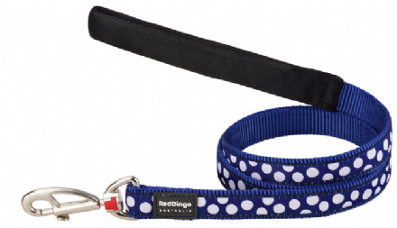 Red Dingo Polka Dot Dog lead Navy and white spot